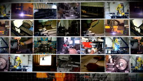 Industry multi-screen manufacture stock video footage