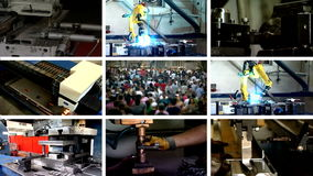 Industry multi-screen manufacture stock footage