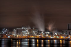 Industry at night. In Rotterdam harbor royalty free stock image