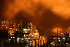Industry At Night. Industry with fire and smoke at night Stock Photo