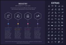 Industry infographic template, elements and icons. Industry options infographic template, elements and icons. Infograph includes options, line icon set with Stock Photo