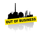 Industry out of business by crisis. Vector illustration of big industry out of business by financial crisis Royalty Free Stock Photo