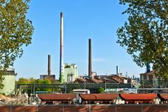 Industry park with silo and chimney Royalty Free Stock Image