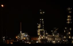 Industry pernis Rotterdam by night. Pernis petro chemical plant near Rotterdam by night Stock Photo