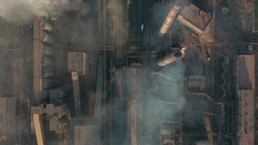 Aerial view. Industry Pipes Pollute the Atmosphere With Smoke stock video footage