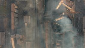 Aerial view. Industry Pipes Pollute the Atmosphere With Smoke stock video