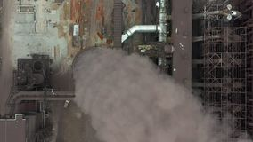 Industry pipes pollute the atmosphere with smoke, ecology pollution, smoke stacks. stock footage
