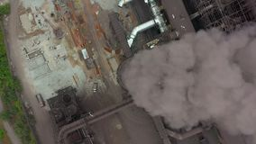 Industry pipes pollute the atmosphere with smoke, ecology pollution, smoke stacks. stock video footage