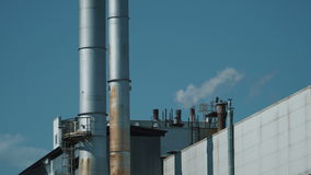 Industry pipes with smoke. Industry pipes pollute the atmosphere with smoke stock footage