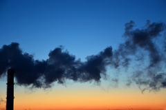 Industry pollution. At the sunset stock photos