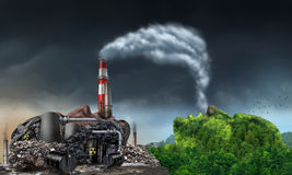 Industry Pollution. Environment concept as a human head shaped as a dirty power plant releasing toxic waste in the water and smoke stacks with plumes of dirty royalty free illustration