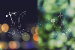 Industry and pollution versus nature and ecology icons. Industry and pollution over city bokeh versus nature and ecology icons over forest bokeh royalty free stock photo