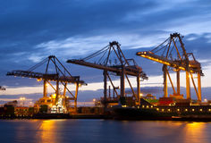 Industry in the port of Rotterdam. At night Stock Photo