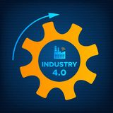 Industry 4.0 revolution gear and factory icon. Industry 4.0 gear and factory icon vector illustration. Orange cogwheel and blue factory icon with sign INDUSTRY 4 stock illustration