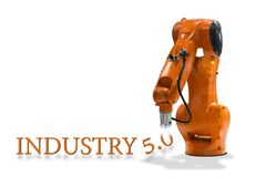 Industry 5.0 robot mechanical arm technology. On a white background stock image