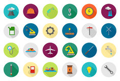 Industry  round icons set Royalty Free Stock Photo