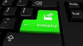 36. Industry Round Motion On Computer Keyboard Button. 36. Industry Round Motion On Green Enter Button On Modern Computer Keyboard with Text and icon Labeled stock footage