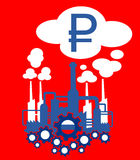 Industry of Russia. Factory in the colors of flag of Russia as metaphor of Russian industry and its financial profit or crisis expressed as income of roubles royalty free illustration