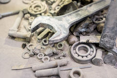 Industry. Set of tools in construction dust Royalty Free Stock Image