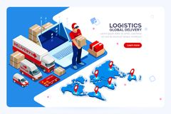 Industry of Shipment and Web Delivery. Industry of shipment, web delivery and parcel concept. Carry man, free courier and express delivery. Infographics with vector illustration