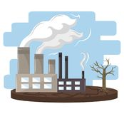 Industry with smoke. Polluting icon cartoon vector illustration graphic design stock illustration