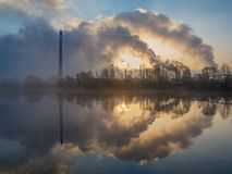 Industry smoke and sunset Royalty Free Stock Image