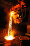 Industry Steel Mill Factory Foundry. Liquid Molten Steel Industry Mill royalty free stock images