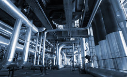 Industry Steel pipelines at factory royalty free stock photography
