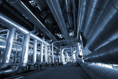 Industry Steel pipelines at factory Royalty Free Stock Photos