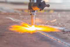 Industry steel, Sparkles,  Fire gas cutting slab. Stock Images