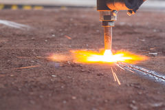 Industry steel, Sparkles,  Fire gas cutting slab. Royalty Free Stock Photos