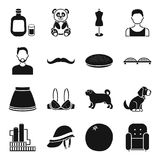 Industry, style, animal and other web icon in black style.. Industry, style, animal and other  icon in black style. furniture,Clothes atelier icons in set Stock Images