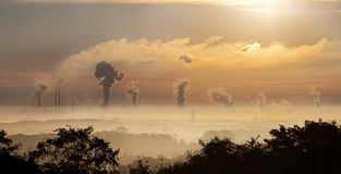 Industry, Sunrise, Clouds, Fog Royalty Free Stock Image