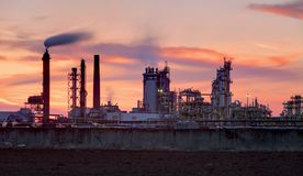 Industry at sunset with refinery royalty free stock photo