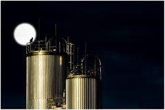 Industry, Tank, Night, Moon, Cat Royalty Free Stock Images