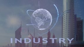 Industry text with 3d hologram of the planet Earth against the backdrop of the modern metropolis vector illustration