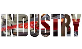 Industry text logo. Graphic design with automation robotic welding spot in car factory stock photo