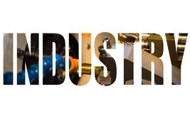Industry text logo. Graphic design with CNC Lathing machine stock illustration