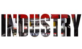 Industry text logo. Graphic design with hydraulic press machine stock illustration