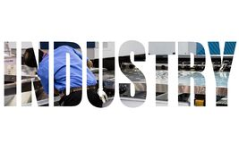 Industry text logo. Graphic design with mechanic worker repair CNC laser cutting machine royalty free stock photography