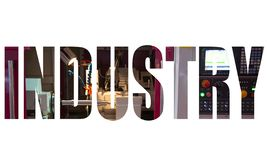Industry text logo. Graphic design with CNC cylindrical grinding machine stock image
