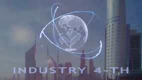 Industry 4-th text with 3d hologram of the planet Earth against the backdrop of the modern metropolis stock illustration