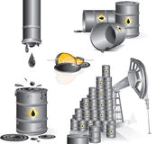 Industry theme images. Detailed vector industrial theme illustrations-Oil pump, oil barrels, gasoline, pipes, black gold, oil drop vector illustration