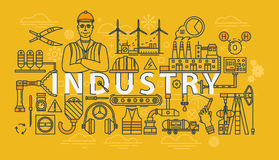 Industry thin line industrial banner Stock Images