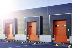 Warehouse logistics complex. loading gates royalty free stock photography