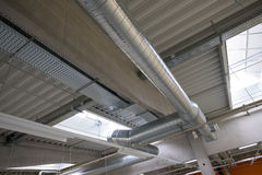 Industry tubes of a air condition in a building. At the ceiling Stock Photo