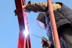 Industry, welding at construction site Royalty Free Stock Images