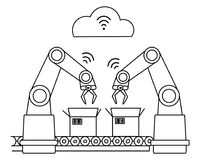 Industry 4.0 wireless network robotic assembly line. Unfilled line art Royalty Free Stock Photography