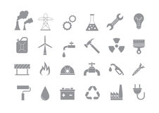 Industry & work gray  icons set. Set of 24 Industry & work gray  icons Royalty Free Stock Images