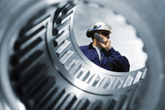 Industry worker and machinery Stock Image